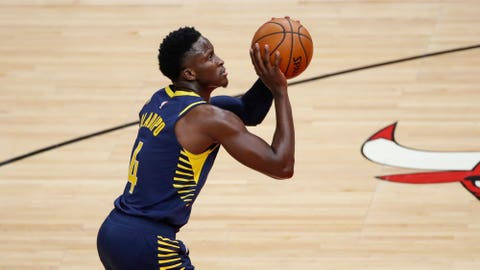 Dec 26, 2020; Chicago, Illinois, USA; Indiana Pacers guard Victor Oladipo (4) shoots a free throw against the Chicago Bulls during the second half of an NBA game at United Center. Mandatory Credit: Kamil Krzaczynski-USA TODAY Sports