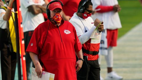 Kansas City Chiefs head coach Andy Reid watches his team during the first half of an NFL football game against the Miami Dolphins, Sunday, Dec. 13, 2020, in Miami Gardens, Fla. (AP Photo/Lynne Sladky)