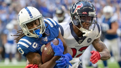 T.Y. Hilton of the Indianapolis Colts evades a tackle by Lonnie Johnson of the Houston Texans, during Houston at The Colts, Lucas Oil Stadium, Indianapolis, Sunday, Oct. 20, 2019. Colts won 30-23 to pull ahead in the race for the AFC South title.  Houston Faces Colts For Afc South Supremacy