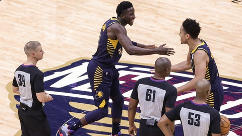 Jan 4, 2021; New Orleans, Louisiana, USA; Indiana Pacers guard Malcolm Brogdon (7) shoots against the New Orleans Pelicans during overtime at the Smoothie King Center. Mandatory Credit: Derick E. Hingle-USA TODAY SportsJan 4, 2021; New Orleans, Louisiana, USA; Indiana Pacers guard Victor Oladipo (4) and guard Malcolm Brogdon (7) celebrate after a 118-116 win against the New Orleans Pelicans in overtime at the Smoothie King Center. Mandatory Credit: Derick E. Hingle-USA TODAY Sports