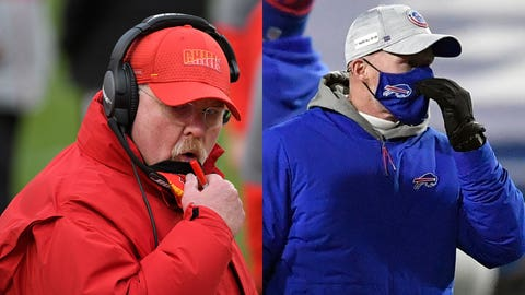 Kansas City Chiefs head coach Andy Reid talks with players on the sideline during the first half of an NFL divisional round football game against the Cleveland Browns, Sunday, Jan. 17, 2021, in Kansas City. (AP Photo/Reed Hoffmann)  Baltimore Ravens head coach John Harbaugh, left, talks to Buffalo Bills head coach Sean McDermott before an NFL divisional round football game Saturday, Jan. 16, 2021, in Orchard Park, N.Y. (AP Photo/Adrian Kraus)