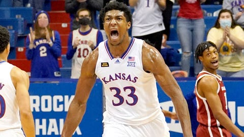 Jan 9, 2021; Lawrence, Kansas, USA; Kansas Jayhawks forward David McCormack (33) celebrates after scoring against the Oklahoma Sooners during the second half at Allen Fieldhouse. Mandatory Credit: Denny Medley-USA TODAY Sports