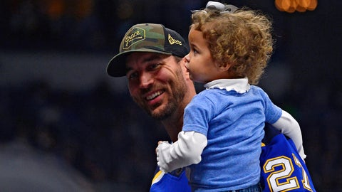 Oct 11, 2018; St. Louis, MO, USA; St. Louis Cardinals pitcher Adam Wainwright (50) and his daughter watch the St. Louis Blues play the Calgary Flames during the third period at Enterprise Center. Mandatory Credit: Jeff Curry-USA TODAY Sports