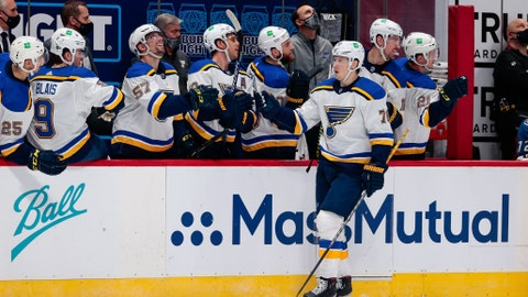 Jan 13, 2021; Denver, Colorado, USA; St. Louis Blues center Oskar Sundqvist (70) celebrates with the bench after his goal in the third period against the Colorado Avalanche at Ball Arena. Mandatory Credit: Isaiah J. Downing-USA TODAY Sports