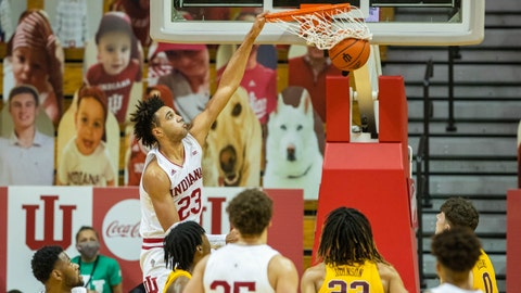 Feb 17, 2021; Bloomington, Indiana, USA; Indiana Hoosiers forward Trayce Jackson-Davis (23) dunks the ball in the second half against the Minnesota Golden Gophers at Simon Skjodt Assembly Hall. Mandatory Credit: Trevor Ruszkowski-USA TODAY Sports