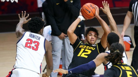 Feb 10, 2021; Oxford, Mississippi, USA; Missouri Tigers guard Dru Smith (12) looks for an open teammate during the second half against the Mississippi Rebels at The Pavilion at Ole Miss. Mandatory Credit: Petre Thomas-USA TODAY Sports