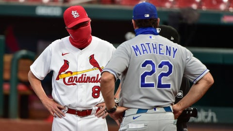Aug 24, 2020; St. Louis, Missouri, USA;  St. Louis Cardinals manager Mike Shildt (8) talks with Kansas City Royals manager Mike Matheny (22) prior to a game at Busch Stadium. Mandatory Credit: Jeff Curry-USA TODAY Sports