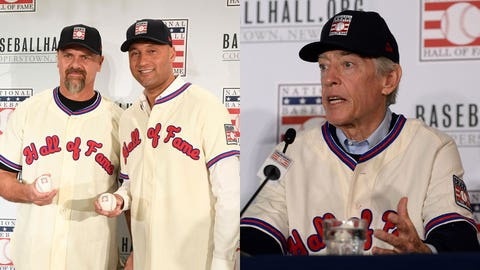 New Hall of Fame 2020 inductees Larry Walker, left, and Derek Jeter pose for photos at St. Regis Hotel in New York on Wednesday, Jan. 22, 2020. Hall Of Fame Presser  Dec 9, 2019; San Diego, CA, USA; Newly inducted Hall of Fame member Ted Simmons speaks to the media during the MLB Winter Meetings at Manchester Grand Hyatt. Mandatory Credit: Orlando Ramirez-USA TODAY Sports