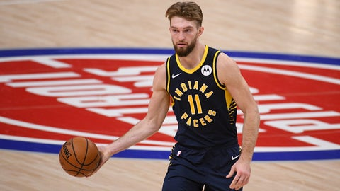 Feb 11, 2021; Detroit, Michigan, USA; Indiana Pacers forward Domantas Sabonis (11) controls the ball against the Detroit Pistons during the third quarter at Little Caesars Arena. Mandatory Credit: Tim Fuller-USA TODAY Sports