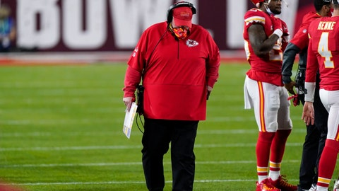 Kansas City Chiefs' Andy Reid hangs his head during the second half of the NFL Super Bowl 55 football game against the Tampa Bay Buccaneers, Sunday, Feb. 7, 2021, in Tampa, Fla. (AP Photo/Mark Humphrey)
