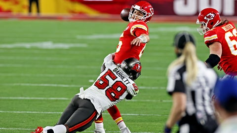 Feb 7, 2021; Tampa, FL, USA;  Kansas City Chiefs quarterback Patrick Mahomes (15) throws a pass under pressure from Tampa Bay Buccaneers outside linebacker Shaquil Barrett (58) during the fourth quarter in Super Bowl LV at Raymond James Stadium.  Mandatory Credit: Matthew Emmons-USA TODAY Sports