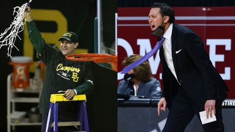 Baylor head coach Scott Drew holds up the netting as they celebrate their Big 12 championship after their game NCAA college basketball game against Texas Tech Sunday, March 7, 2021, in Waco, Texas. (AP Photo/Jerry Larson)  Grand Canyon's head coach Bryce Drew directs his team during the first half of an NCAA college basketball game against New Mexico State for the championship of the Western Athletic Conference men's tournament Saturday, March 13, 2021, in Las Vegas. (AP Photo/Chase Stevens)