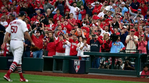 Oct 6, 2019; St. Louis, MO, USA; St. Louis Cardinals pitcher Adam Wainwright (50) receives a standing ovation from the fans after is relieved in the eighth inning in game three of the 2019 NLDS playoff baseball series against the Atlanta Braves at Busch Stadium. Mandatory Credit: Jeff Curry-USA TODAY Sports