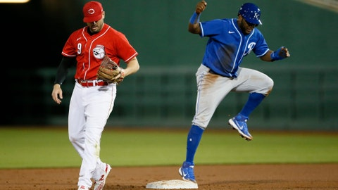 Kansas City Royals Hanser Alberto pops up from a slide at second base in the fourth inning of the MLB Cactus League Spring Training game between the Cincinnati Reds and the Kansas City Royals at Goodyear Ballpark in Goodyear, Ariz., on Thursday, March 4, 2021. Kansas City Royals At Cincinnati Reds Spring Training