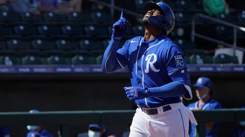 Kansas City Royals' Jorge Soler gestures as he reaches home plate on a home run in the fifth inning of a spring training baseball game against the Colorado Rockies, Sunday, March 21, 2021, in Surprise, Ariz. (AP Photo/Sue Ogrocki)