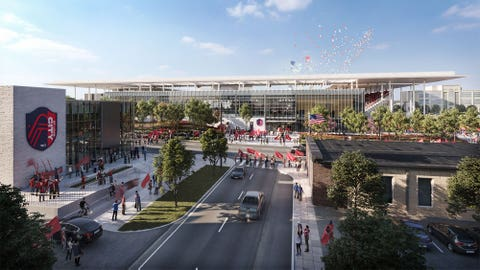 An artist's rendering of the planned St. Louis CITY stadium complex. March 4, 2021