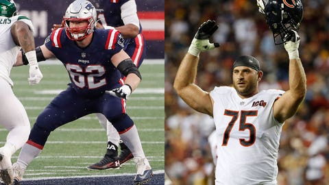Jan 3, 2021; Foxborough, Massachusetts, USA; New England Patriots guard Joe Thuney (62) blocks against the New York Jets during the second half at Gillette Stadium. Mandatory Credit: Winslow Townson-USA TODAY Sports  Sep 23, 2019; Landover, MD, USA; Chicago Bears offensive guard Kyle Long (75) gestures against the Washington Redskins at FedExField. Mandatory Credit: Geoff Burke-USA TODAY Sports