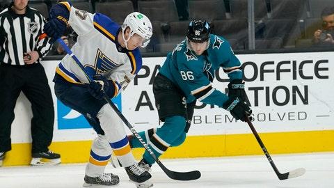 St. Louis Blues defenseman Niko Mikkola, left, skates against San Jose Sharks right wing Joachim Blichfeld (86) during the first period of an NHL hockey game in San Jose, Calif., Monday, March 8, 2021. (AP Photo/Jeff Chiu)