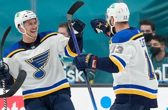 Blues snap five-game losing streak with 2-1 shootout win over Sharks