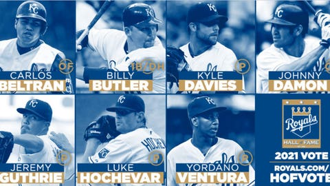 Royals 2021 Hall of Fame candidates. Photo collage courtesy Kansas City Royals.