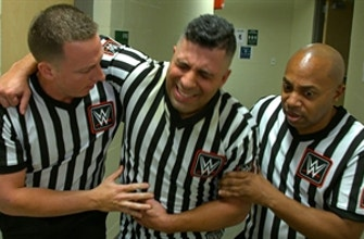 Referee Eddie Orengo gets assistance following attack by Charlotte Flair: WWE Network Exclusive, April 19, 2021