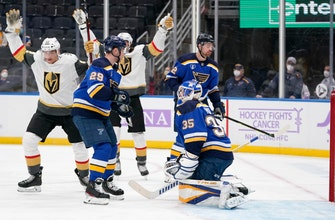 Blues drop seventh straight, 6-1 to Golden Knights thumbnail