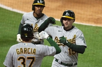 Athletics ride three late homers to 6-2 win over Angels