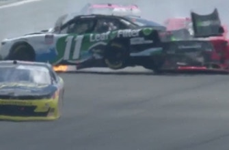 Justin Haley SLAMS wall after contact with Sam Mayer