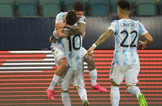 Rodrigo de Paul anota un gol al final del primer tiempo mientras Argentina se adelanta 1-0 a Ecuador