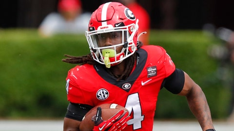 ATHENS, GA - APRIL 17: Running back James Cook #4 of the Georgia Bulldogs rushes during the second half of the G-Day spring game at Sanford Stadium on April 17, 2021 in Athens, Georgia. (Photo by Todd Kirkland/Getty Images)