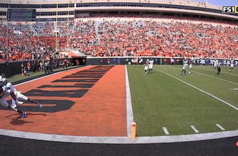 Bryson Green's insane catch helps Oklahoma State get level with Tulsa, 14-14