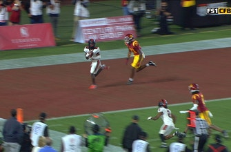 Chance Nolan's second TD pass of the half ties it up for Oregon State at 14-14 against USC