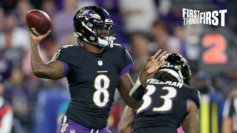 BALTIMORE, MARYLAND - OCTOBER 11: Lamar Jackson #8 of the Baltimore Ravens passes during the first quarter in a game against the Indianapolis Colts at M&T Bank Stadium on October 11, 2021 in Baltimore, Maryland. (Photo by Rob Carr/Getty Images)