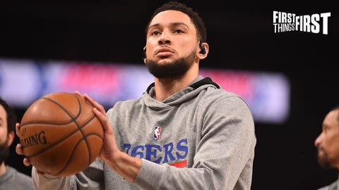 ATLANTA, GA - JUNE 18: Ben Simmons #25 of the Philadelphia 76ers warms up prior to a game against the Atlanta Hawks during Round 2, Game 6 of the Eastern Conference Playoffs on June 18, 2021 at State Farm Arena in Atlanta, Georgia. NOTE TO USER: User expressly acknowledges and agrees that, by downloading and/or using this Photograph, user is consenting to the terms and conditions of the Getty Images License Agreement. Mandatory Copyright Notice: Copyright 2021 NBAE (Photo by Jesse D. Garrabrant/NBAE via Getty Images)
