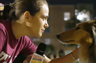 Charlotte Wilder visits with Reveille at Texas A&M: Ultimate College Football Road Trip