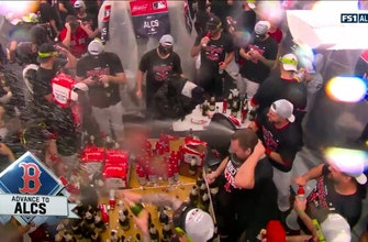 Watch the Red Sox celebrate in the locker room after advancing to the ALCS