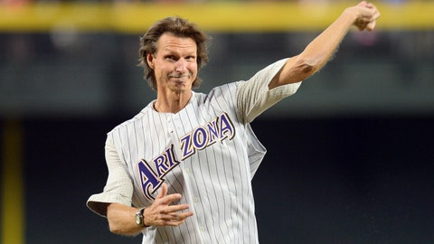 April 6 - Randy Johnson throws out first pitch on Opening Day