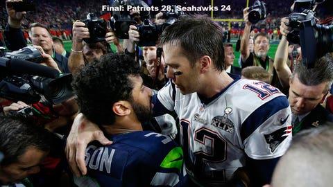 The quarterbacks embrace