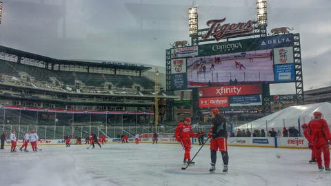 Red Wings open practice at Comerica Park