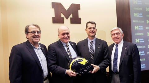 New Harbaugh plays it safe, draws on anecdotes in return to Michigan
