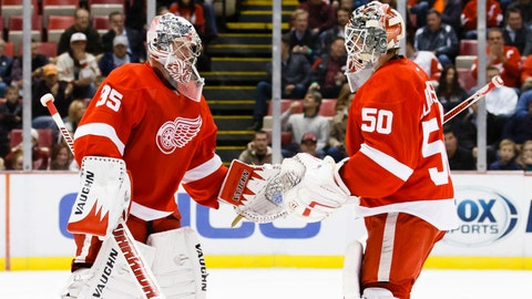 Gave: Three's a crowd in goal as Red Wings weigh options