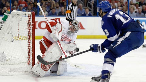 Mrazek helps Wings escape with Game 1 victory in Tampa Bay