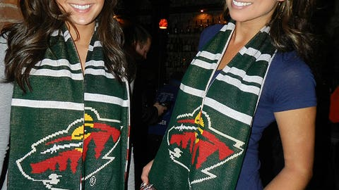 Check out the cool custom Minnesota Wild scarves on Angie and Kaylin!