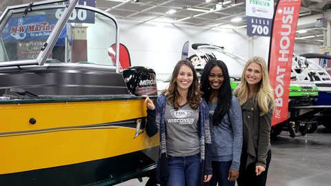 Only fitting that the FOX Sports Wisconsin Girls would hit the water in a Packers-themed boat.