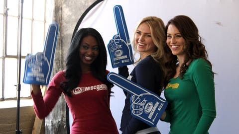 Bishara, Chyna & Sage have fun with the FOX Sports Wisconsin foam fingers in between takes.