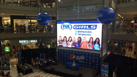 The FOX Sports Girls are front and center at the Mall of America Rotunda.