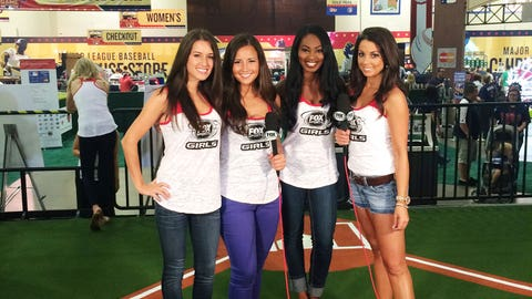 FOX Sports Detroit Girl Angela, Angie, FOX Sports Wisconsin Girl Bishara, and Kaylin try their hand at the Be A Sports Anchor interactive at the FOX Sports North booth at T-Mobile All-Star FanFest.