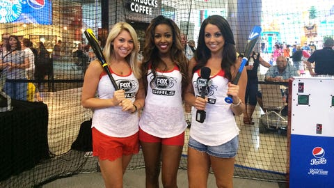FOX Sports Midwest Girl Kayla, FOX Sports South Girl Canicka and FOX Sports North Girl Kaylin spend time in the cages at the Pepsi Real Big All-Star Summer event at the Mall of America.