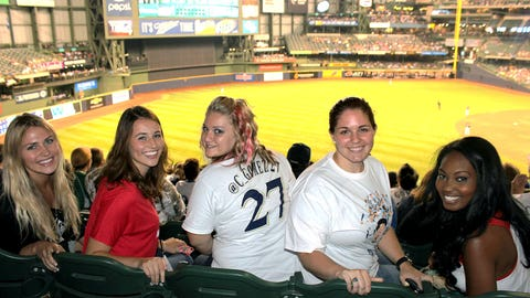 The FOX Sports Wisconsin Girls joined fans in the stands to cheer on the #BrewersMVT & his Crew.
