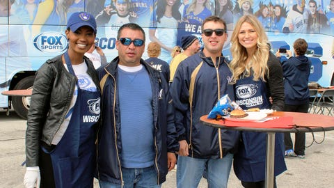 Enjoying the tailgate with Brewers fans before the game.
